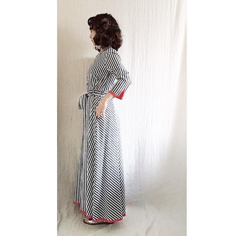 BOUTIQUE stripe cotton dress TE-3401   BLUE STRIPE