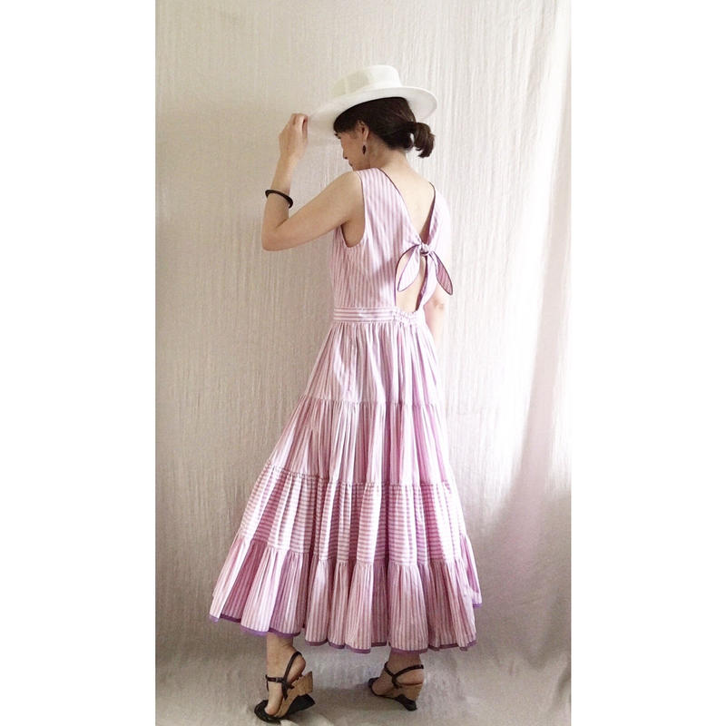 BOUTIQUE stripe cptton  back ribbon dress TE-3500