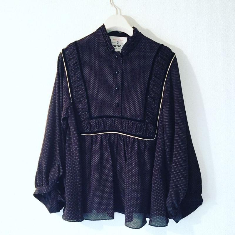 BOUTIQUE silk de chine tops  TG-3402/BLACK(DOT)