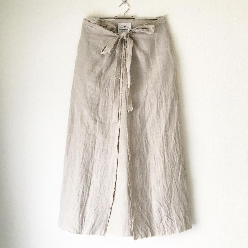 BOUTIQUE  linen  wrap skirt  TC-3500'