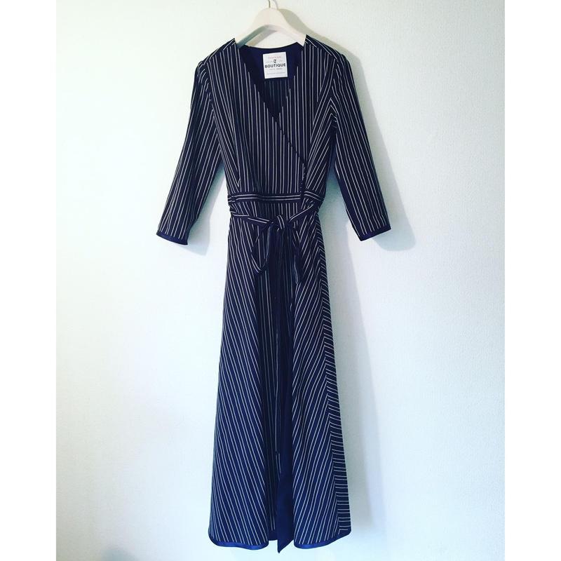 終了しました《予約販売》BOUTIQUE stripe cotton dress TE-3401    BLACK X WHITE