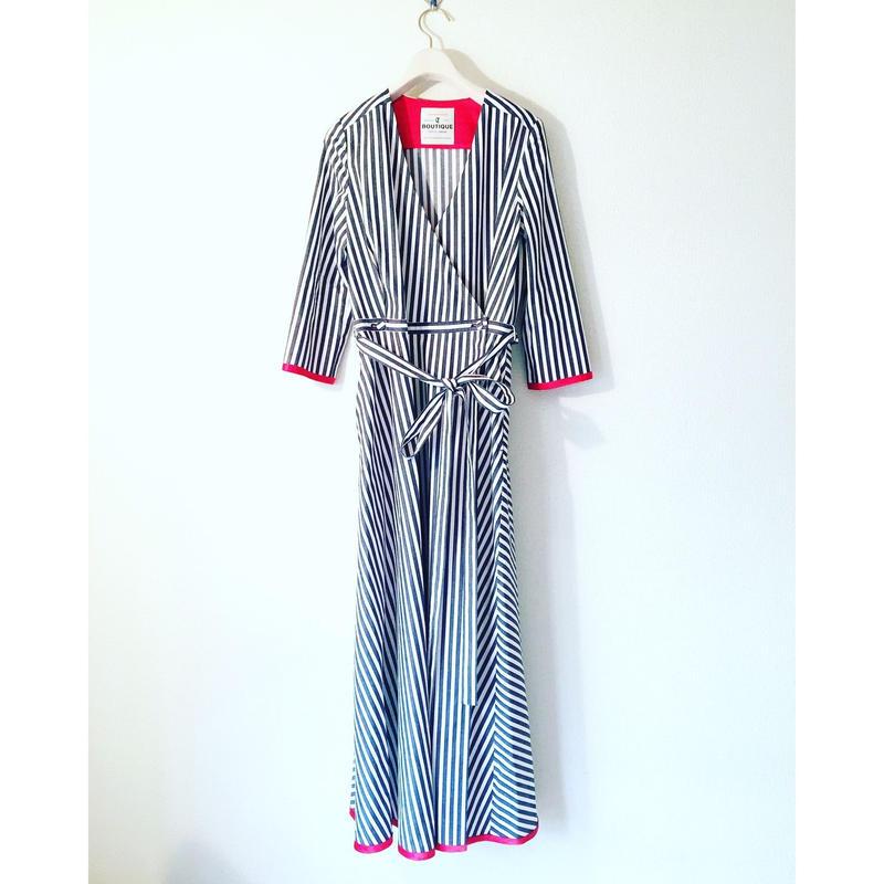 終了しました《予約販売》BOUTIQUE stripe cotton dress TE-3401   BLUE STRIPE