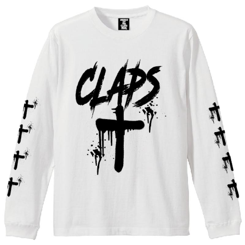 CLAPS CLOSS  L/S  T-SHIRT  (WHITE)