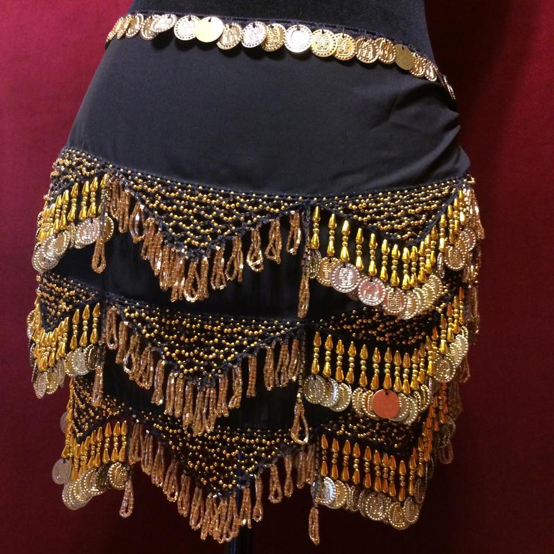 エジプト雑貨 ベリーダンス 衣装   手作り ヒップスカーフ ブラック ゴールド コイン/レディース