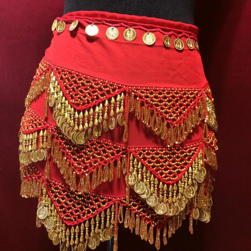エジプト雑貨 ベリーダンス 衣装   手作り ヒップスカーフ レッド ゴールド コイン/レディース