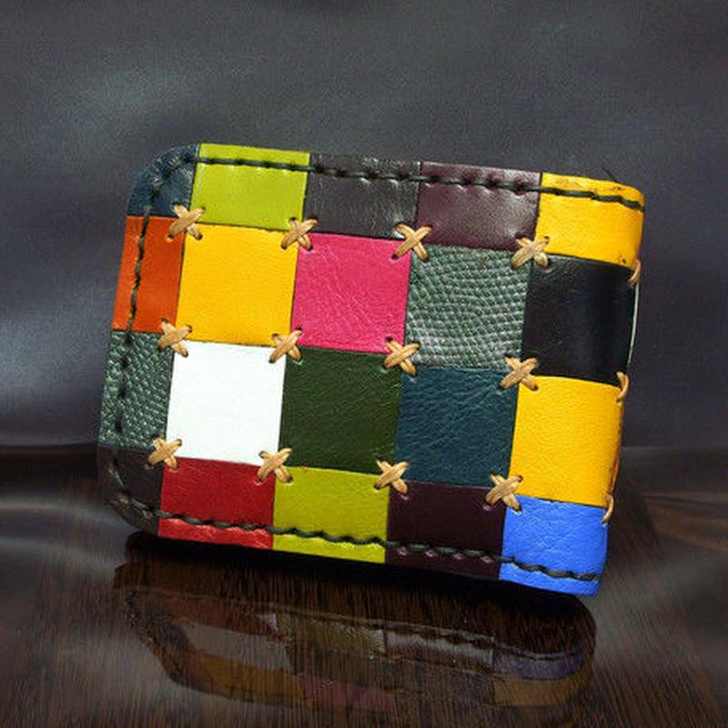 ハンドメイド【端切れ】レザー財布 二つ折り ショートウォレット チェックパターン