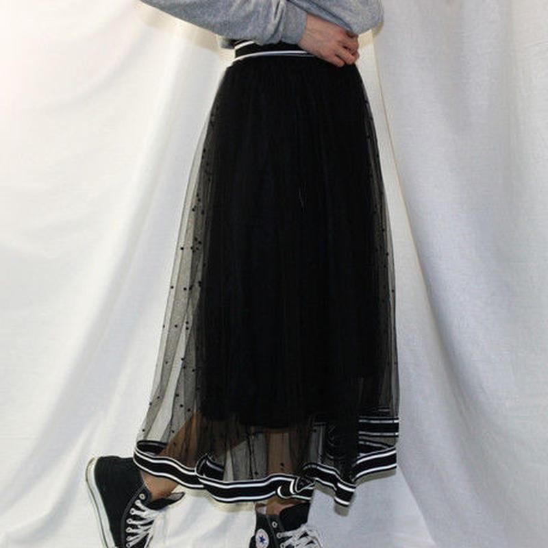 チュール重ねデザイン ロングスカート