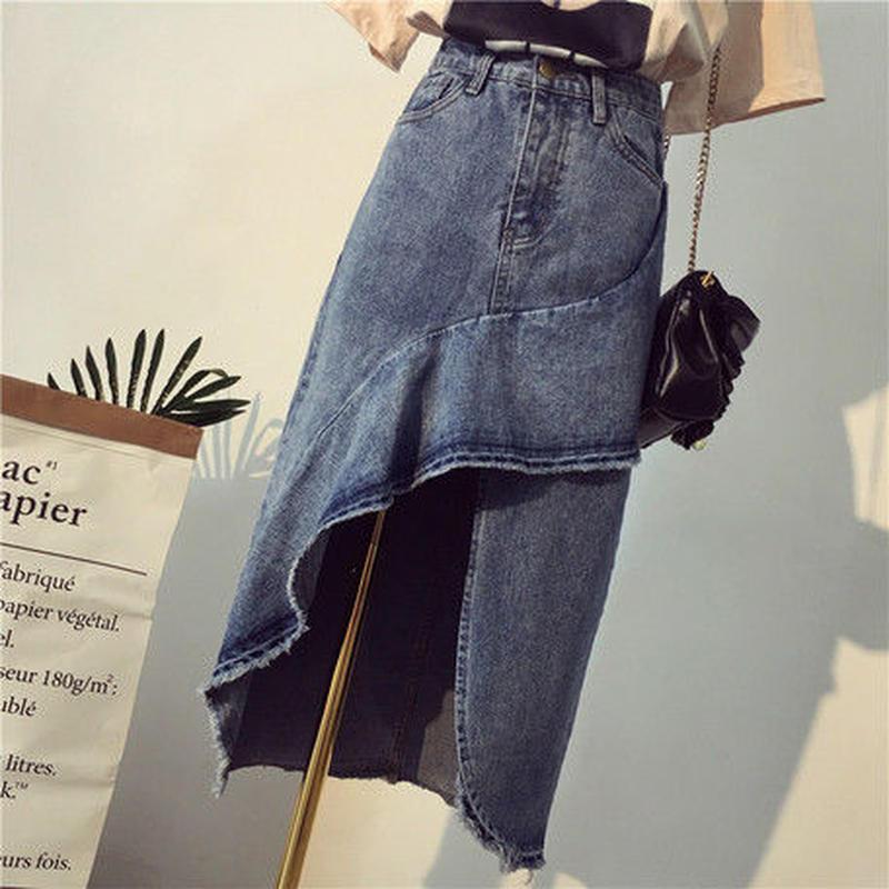 フリルデザイン デニムスカート
