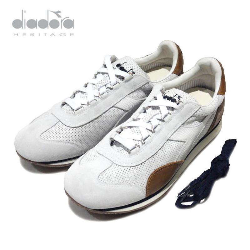 DIADORA heritage パンチングレザー スニーカー EQUIPE L. PERF SW シューズ white 159707/0006 ディアドラ ヘリテージ