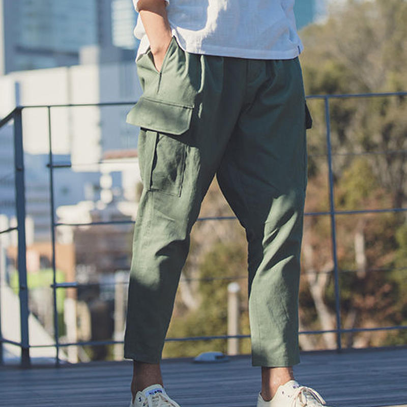 【ANGENEHM(アンゲネーム)】Cotton Linen Tuck Tapered Ankle Cargo Pants(MADE IN JAPAN) パンツ