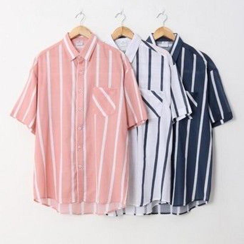 ストライプデザイン半袖シャツ 3color