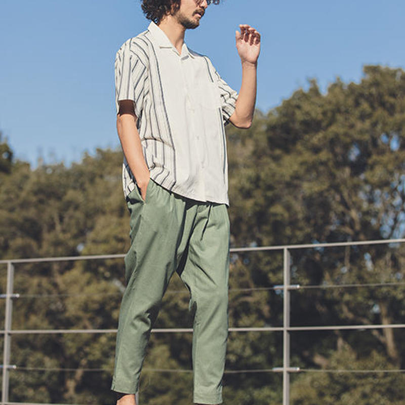 【ANGENEHM(アンゲネーム)】Cotton Linen Tuck Tapered Ankle Pants(MADE IN JAPAN)リネン パンツ