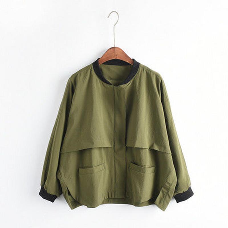 ミリタリーノーカラー ワイドシルエットジャケット