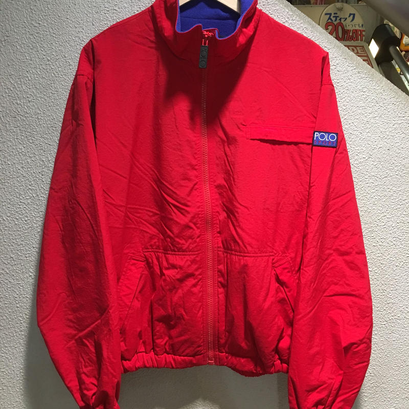 POLO RALPH LAUREN / 90's Vintage Nylon Fleece Jacket  size : M RED/BLU