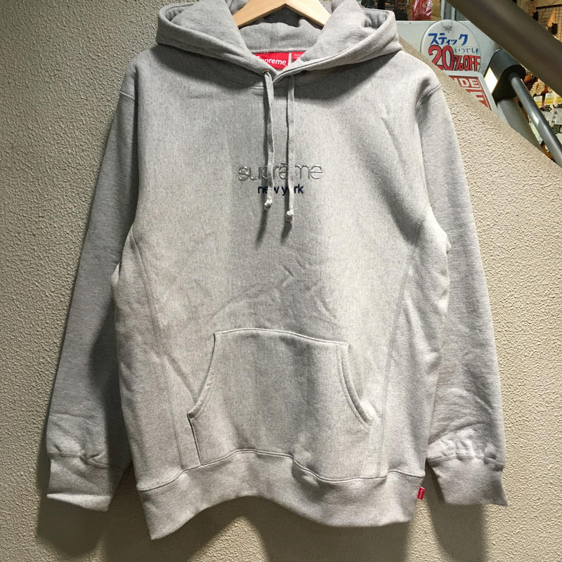 SUPREME / Chrome Classic Logo Hooded Sweatshirt size : L GRY 2016A/W
