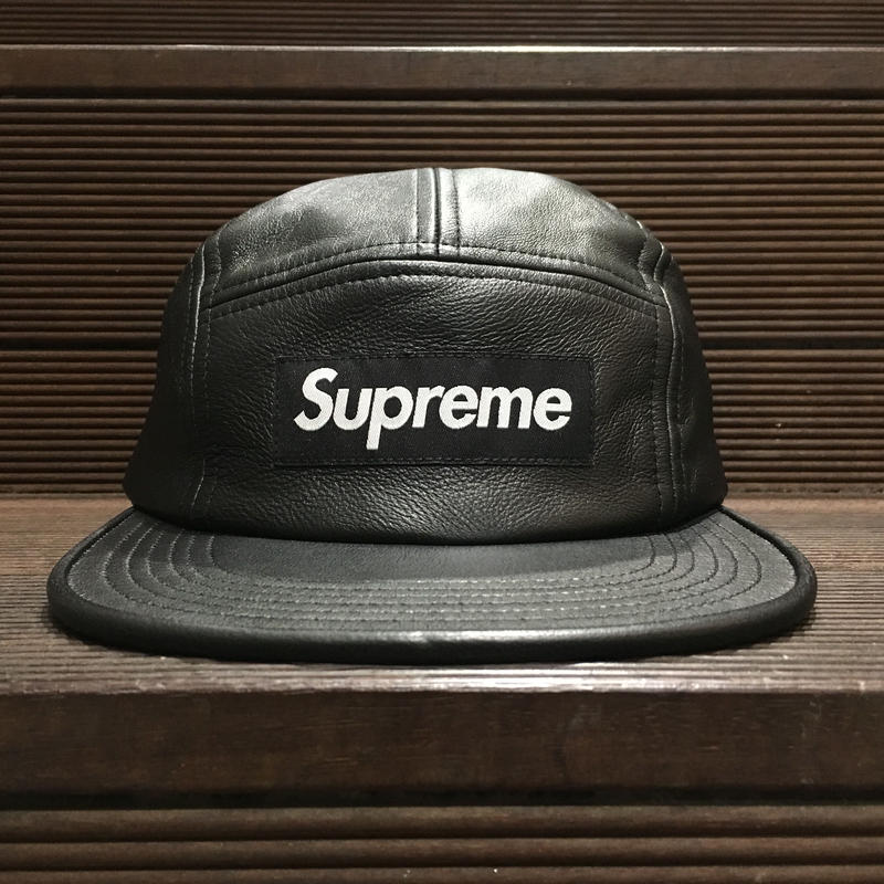 SUPREME / Leather Camp Cap BLK 2016A/W