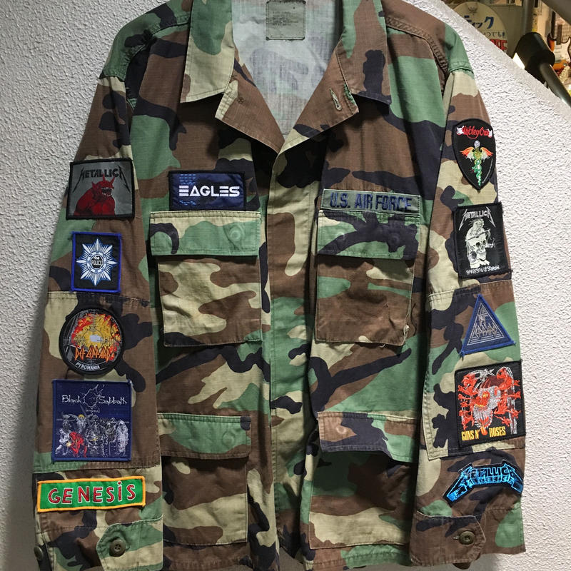 Vintage Band Patch Custom Militarry Jacket size : XL CAMO
