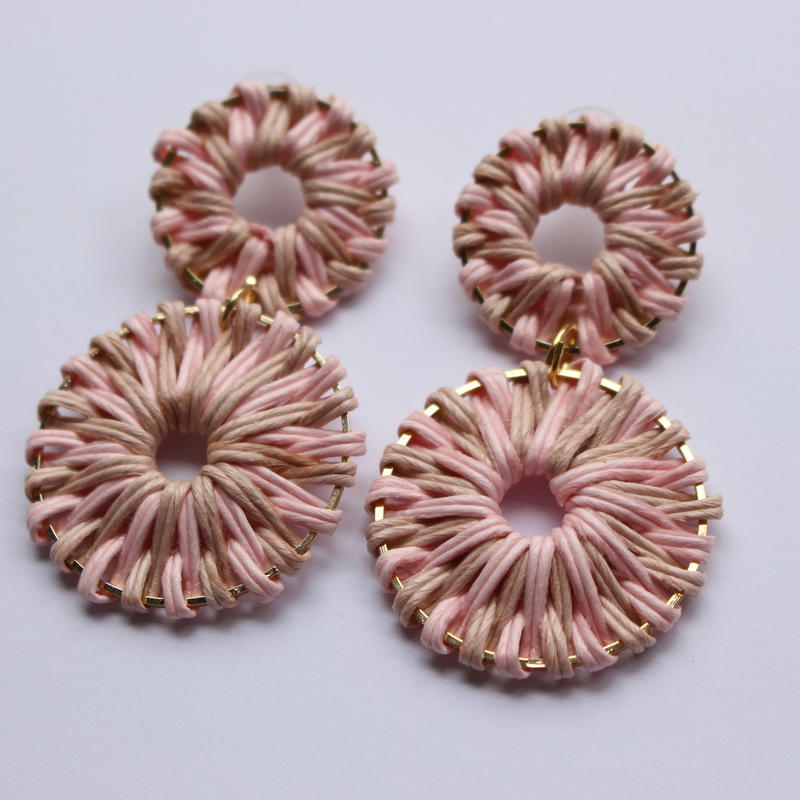 two color rattan pierce pastel pink