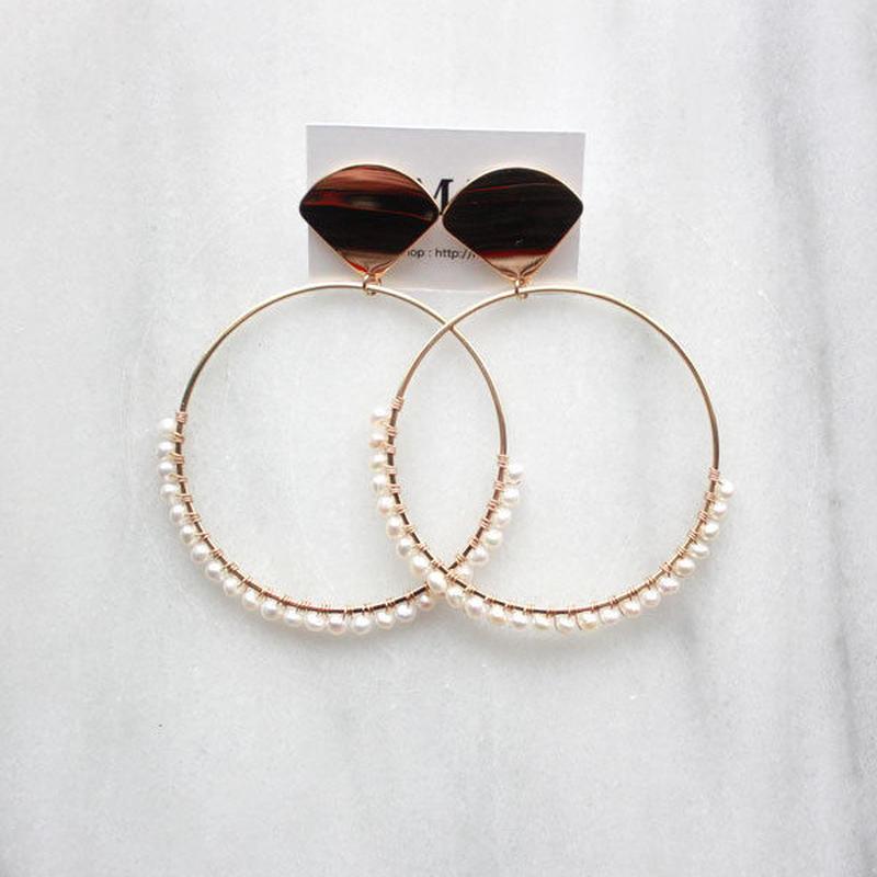 Gold pearl hoop02