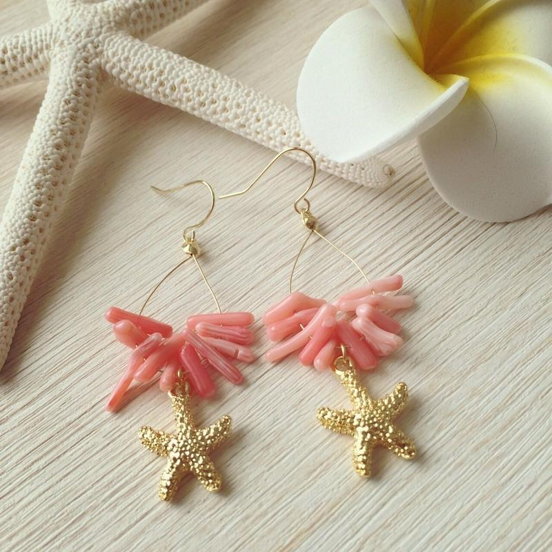 starfish & pink coral pierce