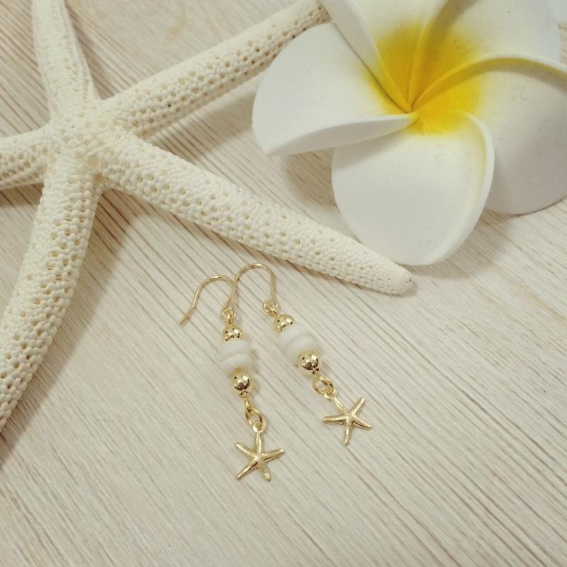14kgf starfish&white shell pierce