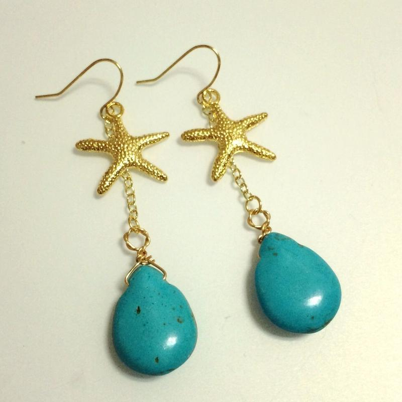 turquoise & starfish drop pierce