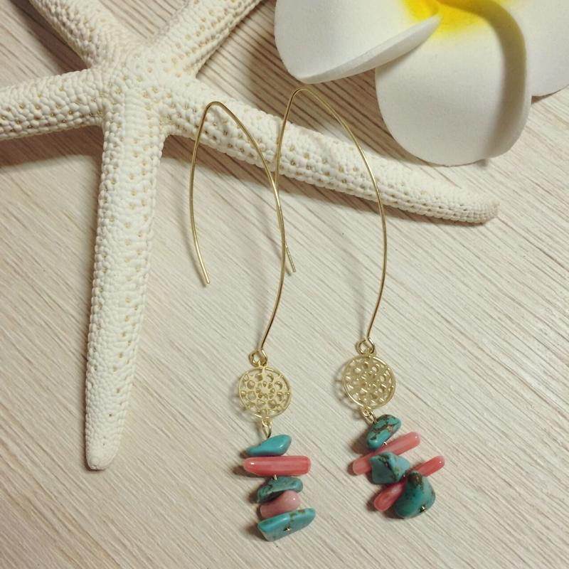 turquoise & pink coral gold charm pierce
