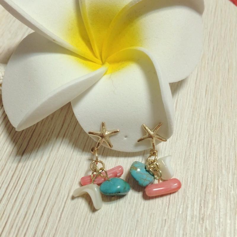 14kgf turquoise & pink coral & white shell pierce