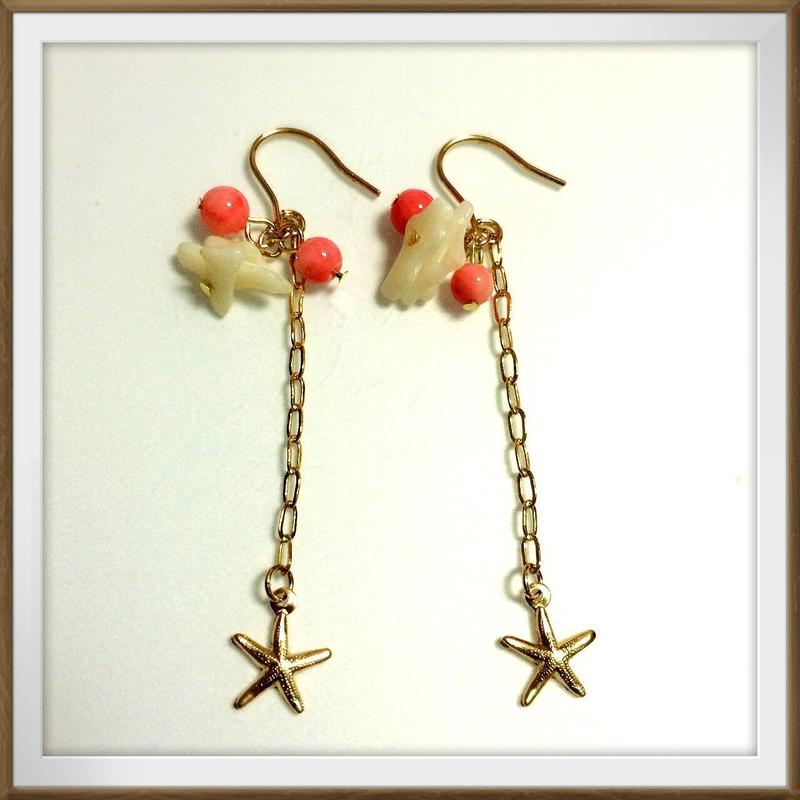 14kgf starfish & coral pierce