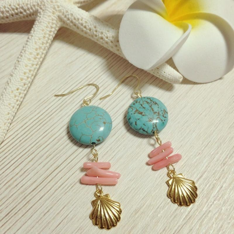 turquoise & pink coral pierce