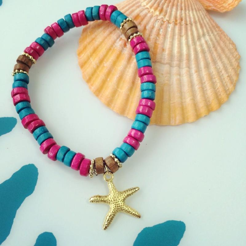 wood beads & starfish bracelet
