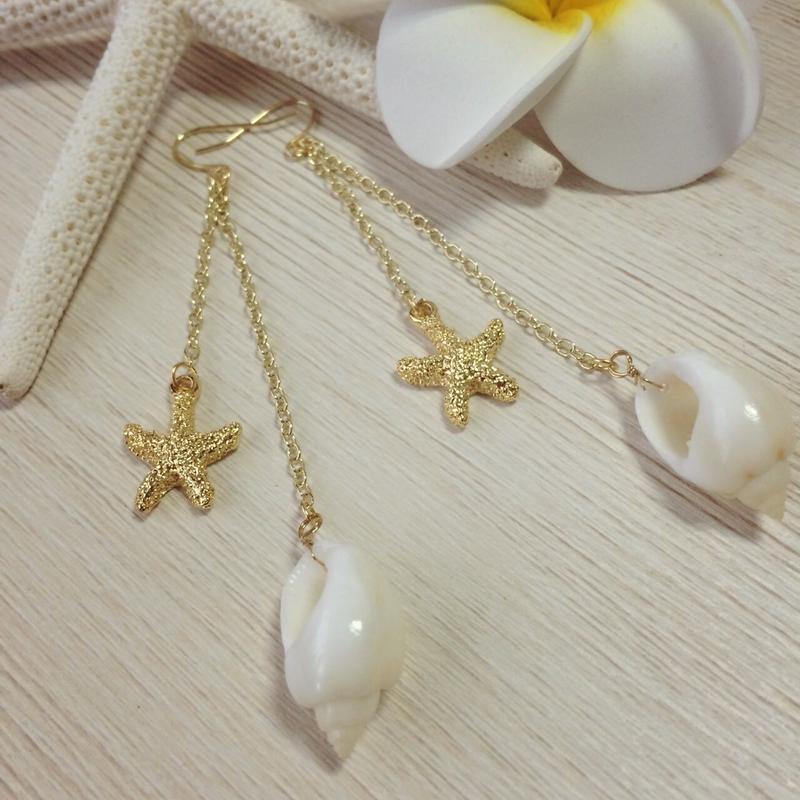 shell & starfish long pierce
