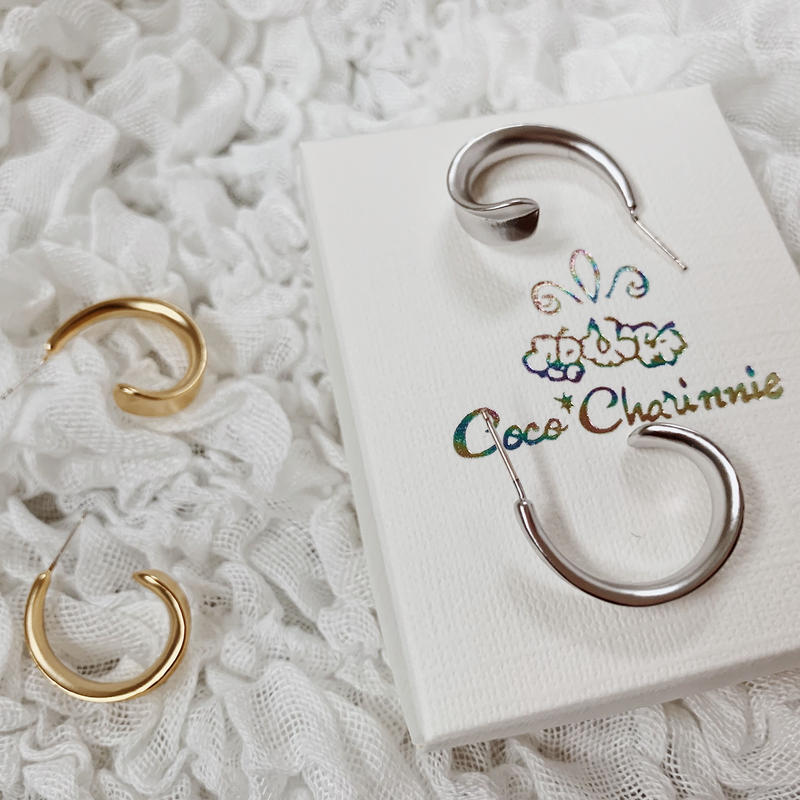 [Brass ×Silver925] Boho curve hoop earring