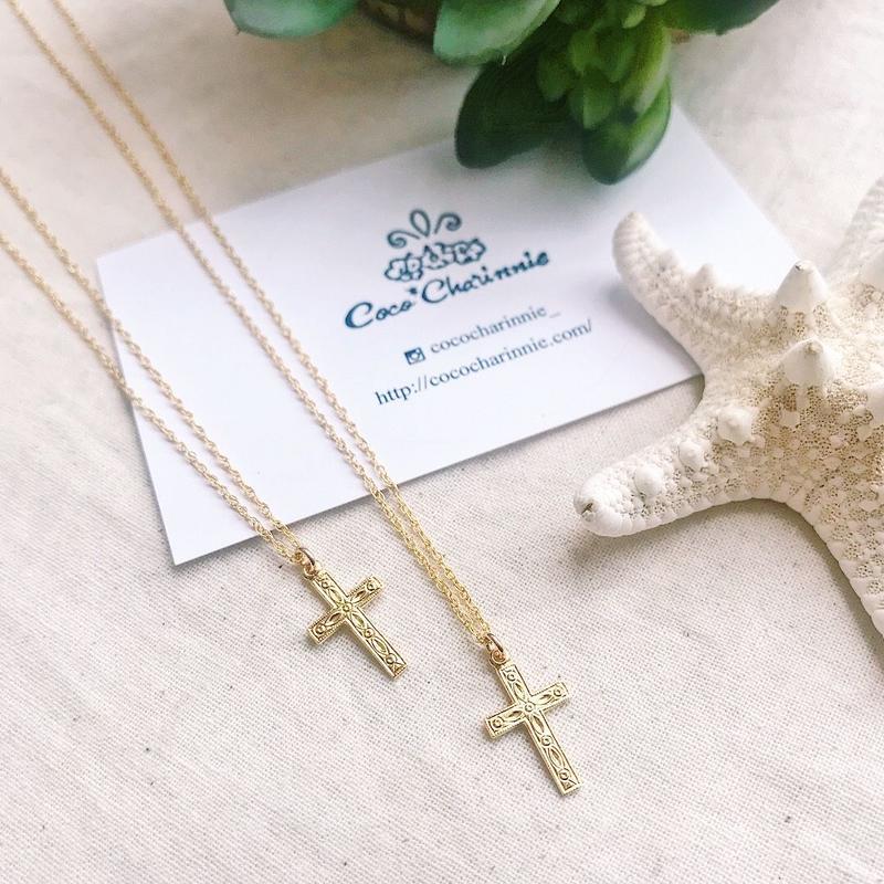 [14kgf] Design cross necklace