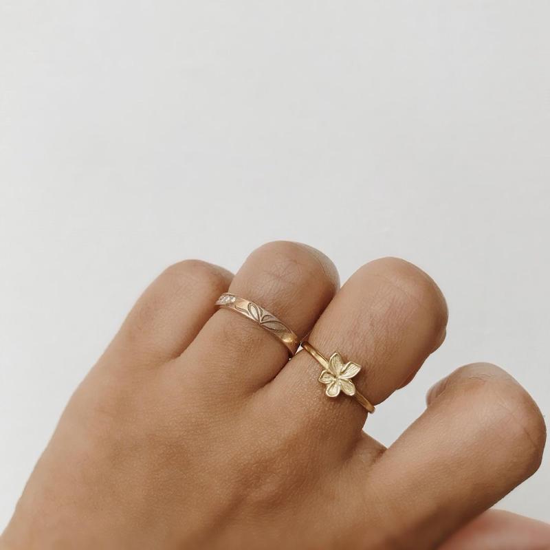 [Brass] Tropical Flower Ring