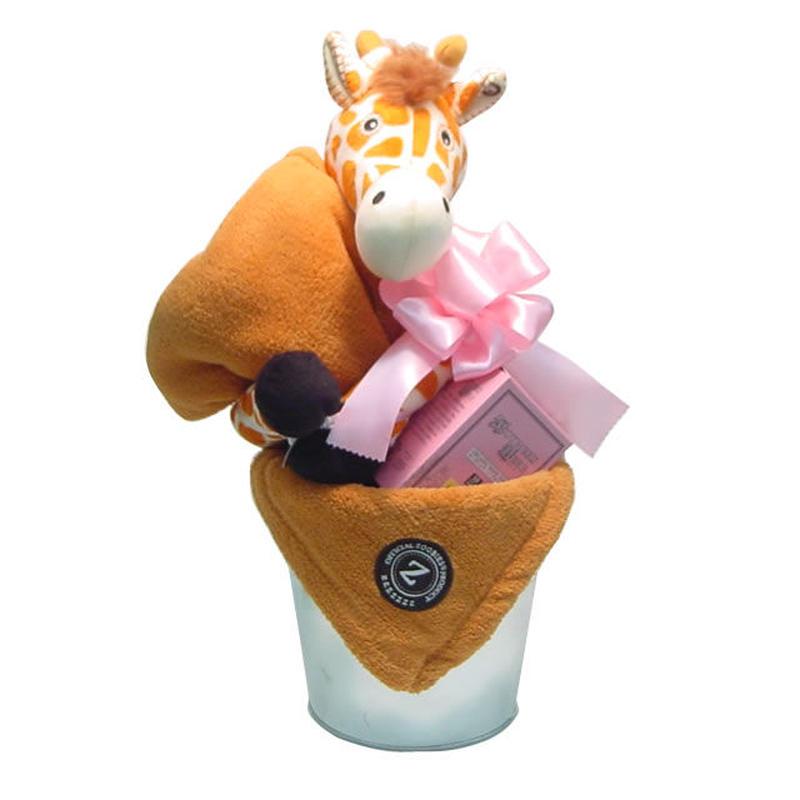出産祝い/ふわふわブランケットとラズベリーリーフのバケツアレンジ・リボンラッピング付き(女の子用)
