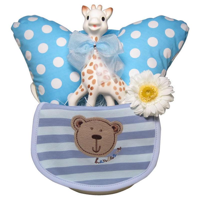 出産祝い/キリンのソフィー(並行輸入品)とヘッドクッションのおでかけギフトセット・リボンラッピング付き(男の子用)