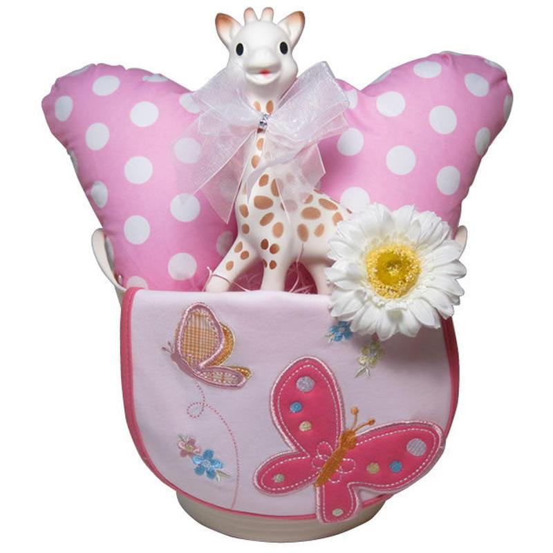 出産祝い/キリンのソフィー(並行輸入品)とヘッドクッションのおでかけギフトセット・リボンラッピング付き(女の子用)