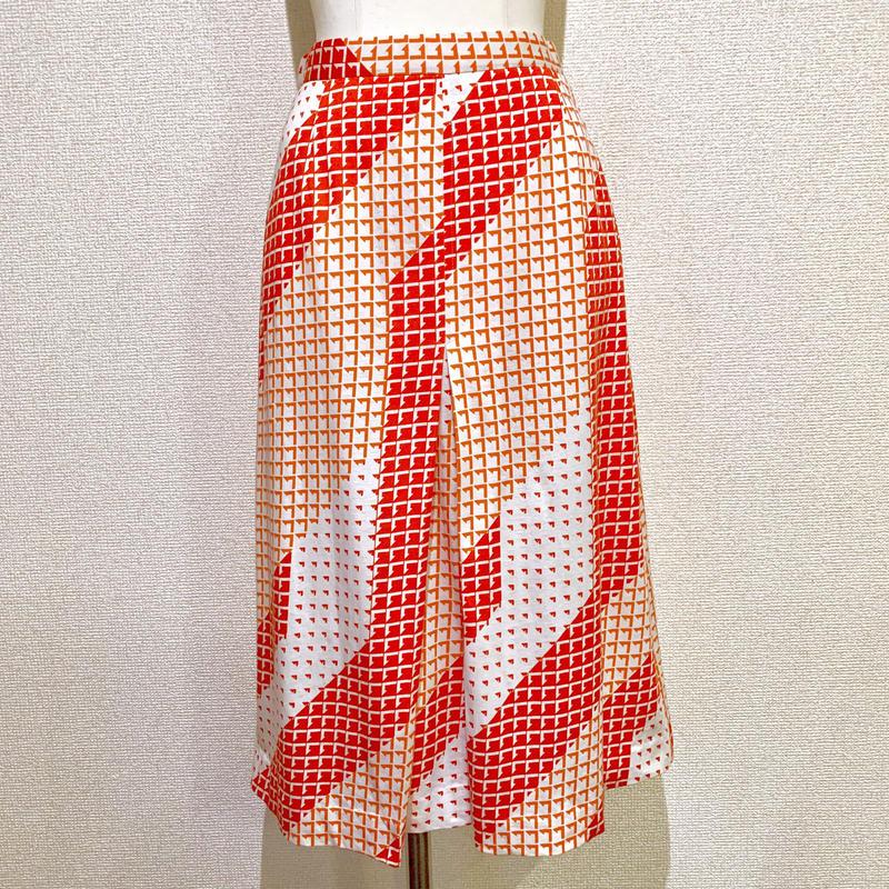 レッド&ホワイト・プリントスカート(1970s Italy デッドストック)