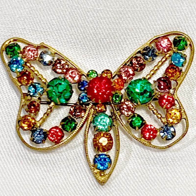 カラフルストーン蝶ブローチ(1930s UK)