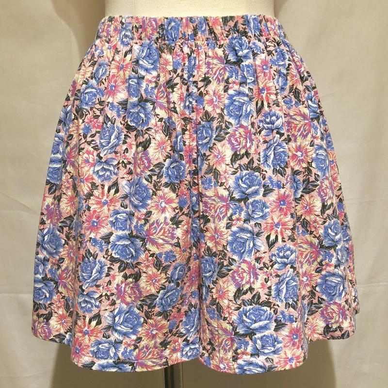 ブルー&ピンク花柄ショートパンツ(1980s  U.S.A)