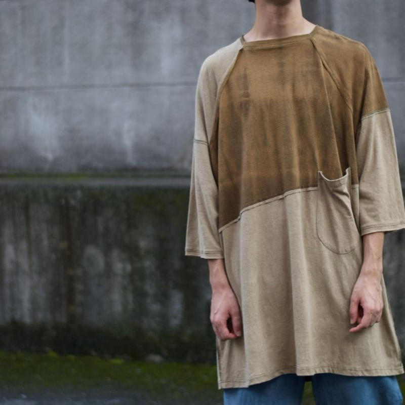 Botanic Green/square neck tee  (beige)
