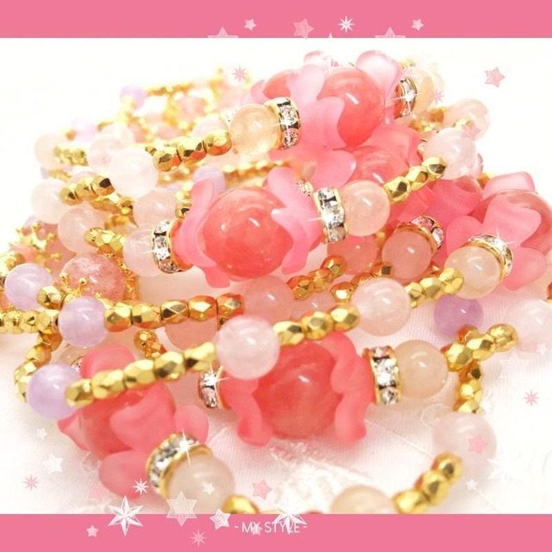 【残1】愛に満ち溢れた毎日が訪れる!バラ色の未来ブレスレット