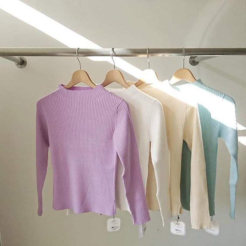bottle neck rib knit