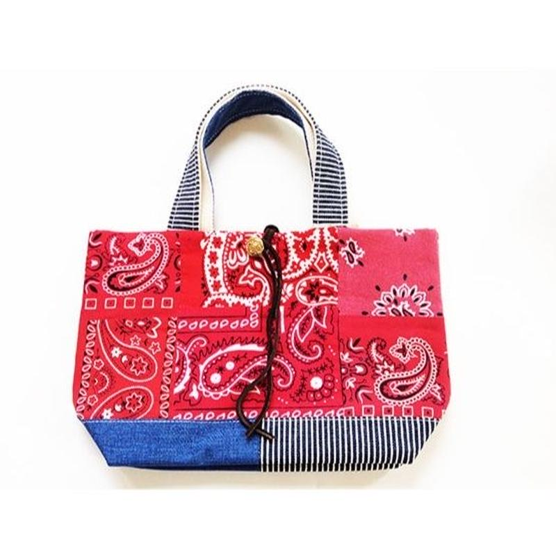 REMADE Patchwork TOTE BAG MidiamSize. (M) バンダナRED