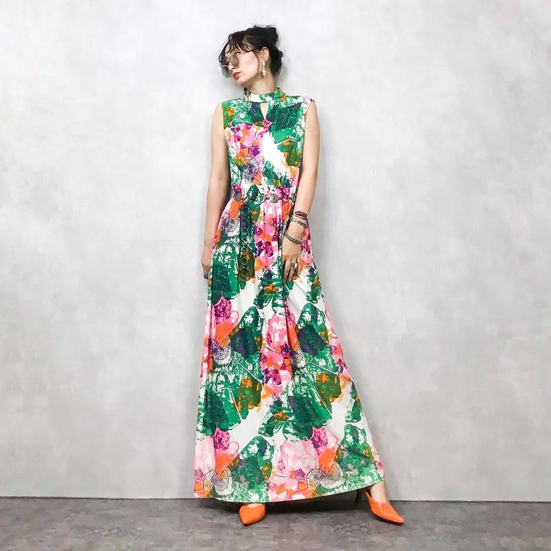 Ring neck tie dye pattern dress-404-7