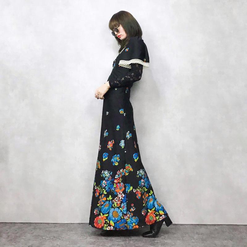 Blue flower rétro maxi dress