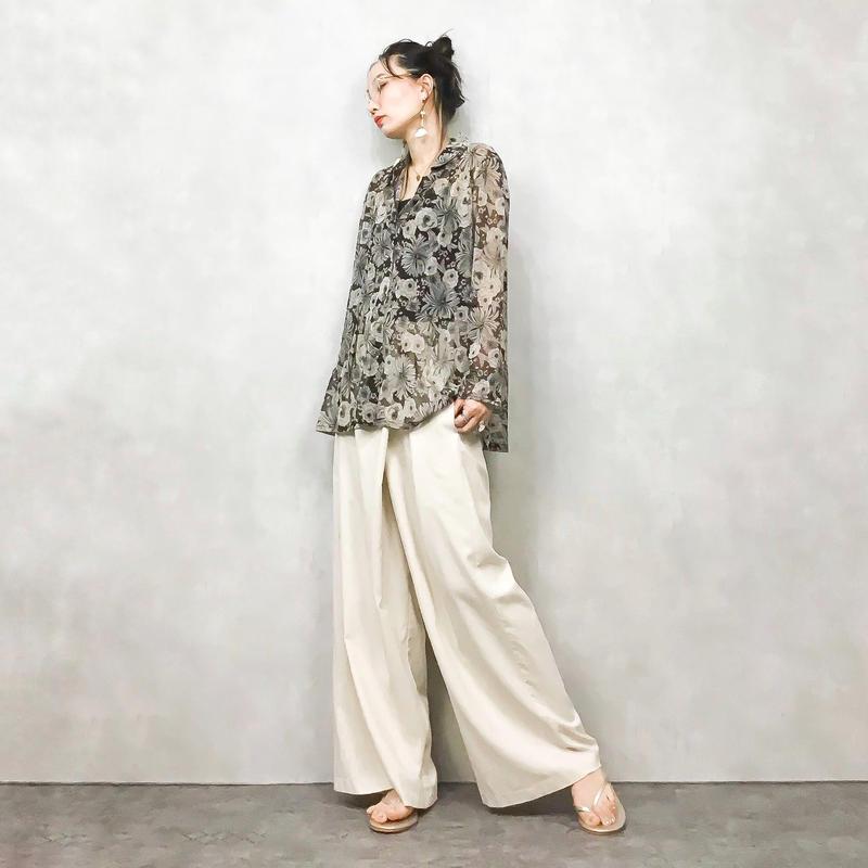 Flower see through brown shirt-414-7