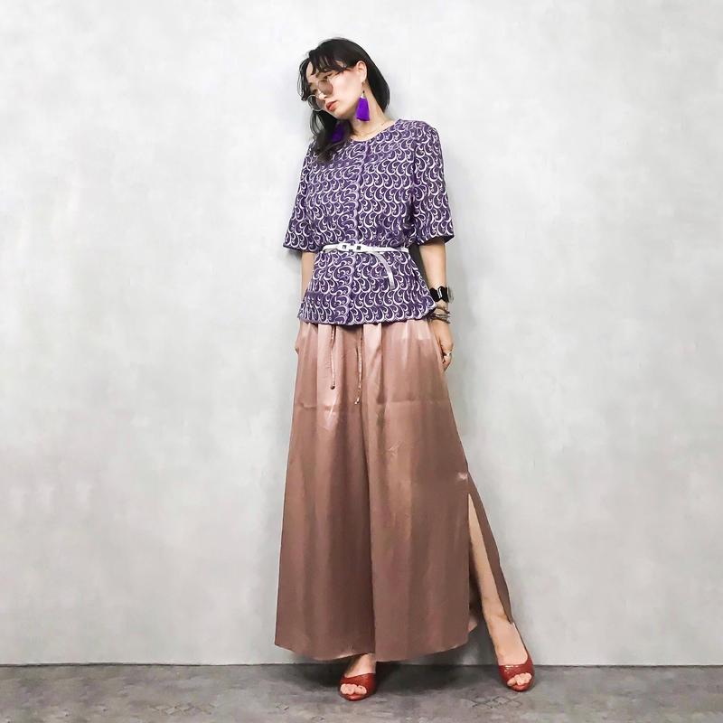 Swirl embroidery purple shirt jacket-400-7