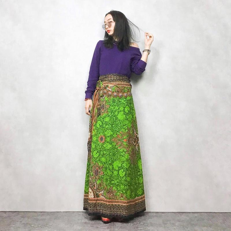 Melon Green Winding maxi  skirt
